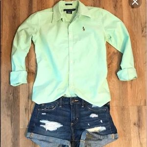 EUC Ralph Lauren Slim Fit Button Down Light Green